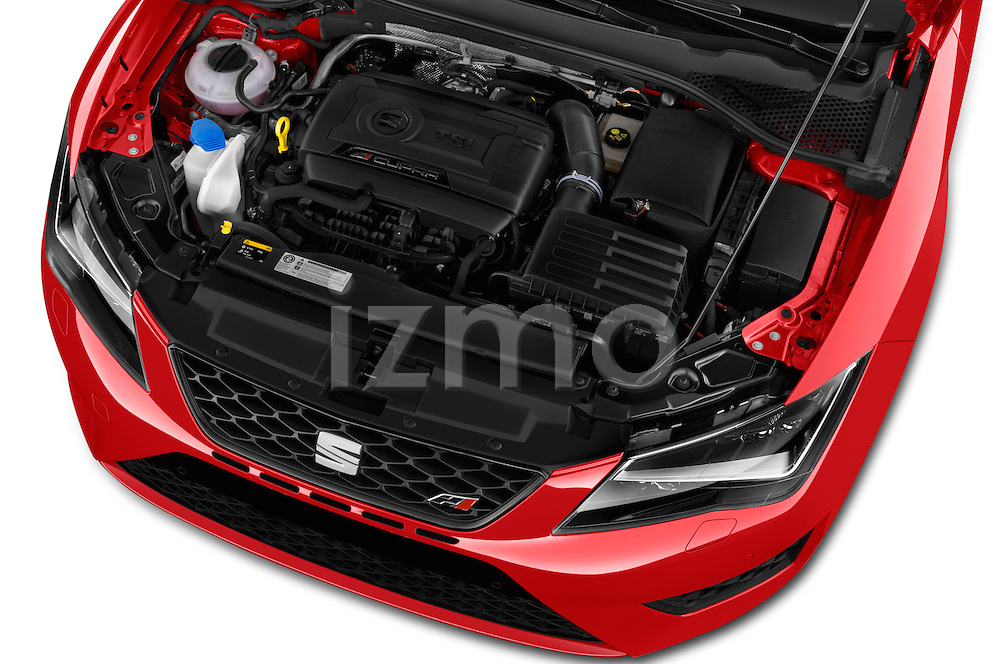 Car Stock 2016 Seat Leon CUPRA 280 5 Door Hatchback Engine  high angle detail view