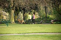 Young girls walking dog at Lesnes Abbey woods, Abbeywood, southeast London, UK