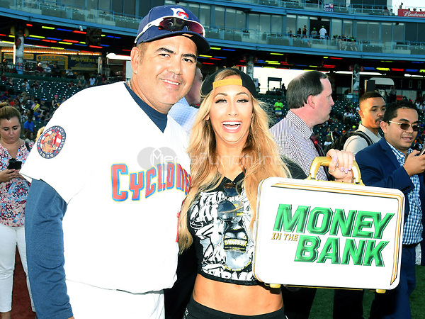 Brooklyn, NY - AUGUST 17: WWE Superstars Carmella  Brooklyn Cyclones Manager Edgardo Alfonso visits MCU Park in Brooklyn, New York on August 17, 2017 during Summer Slam Week. Photo Credit: George Napolitano/MediaPunch