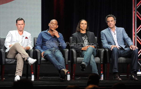 2015 FX SUMMER TCA: (L-R) FARGO cast members Jeffrey Donovan, Bokeem Woodbine, Zahn McClarnon and Brad Garrett during FARGO panel at the 2015 FX SUMMER TCA on Friday, Aug. 7 at the Beverly Hilton Hotel in Beverly Hills, CA. Credit: PGFM/MediaPunch)