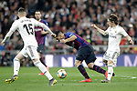 Real Madrid CF's Fede Valverde, Luka Modric and FC Barcelona's Luis Suarez during the King's Cup semifinals match. February 27,2019. (ALTERPHOTOS/Alconada)