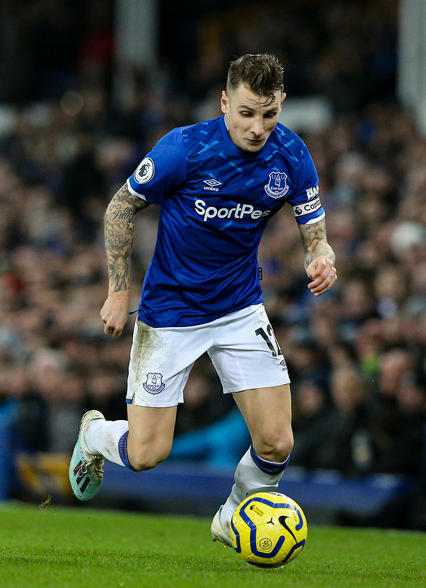 Everton's Lucas Digne<br /> <br /> Photographer Alex Dodd/CameraSport<br /> <br /> The Premier League - Everton v Newcastle United  - Tuesday 21st January 2020 - Goodison Park - Liverpool<br /> <br /> World Copyright © 2020 CameraSport. All rights reserved. 43 Linden Ave. Countesthorpe. Leicester. England. LE8 5PG - Tel: +44 (0) 116 277 4147 - admin@camerasport.com - www.camerasport.com