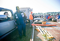 Verlene Stephenson, a NC cooperative extension agent, pulls the auction trailer around the Seaboard Auction.