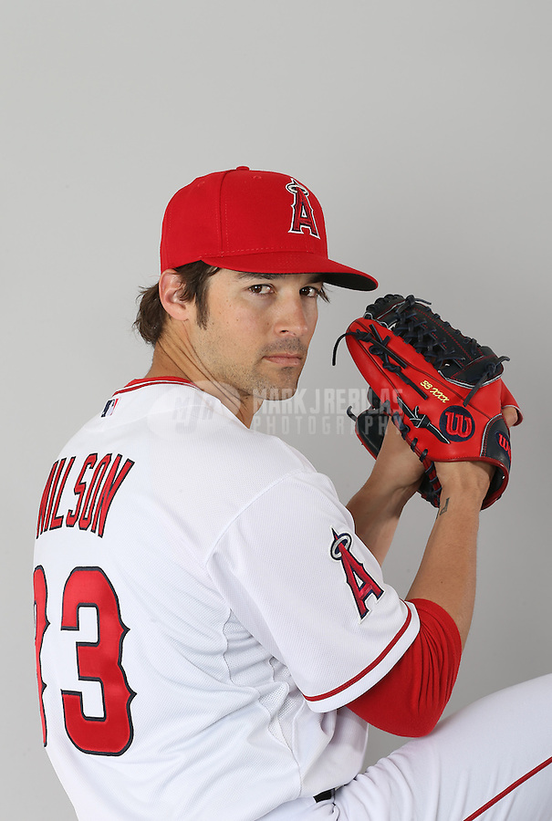 Feb. 21, 2113; Tempe, AZ, USA: Los Angeles Angels pitcher C.J. Wilson poses for a portrait during photo day at Tempe Diablo Stadium. Mandatory Credit: Mark J. Rebilas-