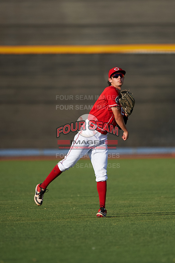 AZL Reds center fielder Rafael Franco (2) warms up between innings of an Arizona League game against the AZL Athletics Green on July 21, 2019 at the Cincinnati Reds Spring Training Complex in Goodyear, Arizona. The AZL Reds defeated the AZL Athletics Green 8-6. (Zachary Lucy/Four Seam Images)