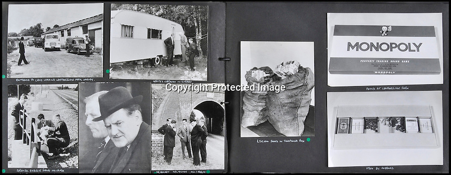 BNPS.co.uk (01202 558833)<br /> Pic: Ben Cavanna/DWA/BNPS<br /> <br /> A unique step by step record of the Great Train Robbery compiled by the first detective on the scene has come to light, 50 years after the 'Crime of the century'.<br /> <br /> DC John Bailey's meticulous scrapbook's give a fascinating blow by blow picture account of the notorious heist from the scene to the capture and trial of the nine robbers.<br /> <br /> Dominic Winter auctions in Cirencester are selling the historic books with a &pound;3000 estimate.