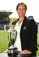 4th February 2020, Eden Park, Auckland, New Zealand;  Dr Farah Palmer with the trophy.<br /> RWC 2021 New Zealand Kick-Off event at Eden Park, Auckland, New Zealand