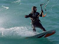 Jim Curran, of Point Edward without helmet, and Matt Mercier, of Sarnia kite surfing under the Blue Water Bridge.