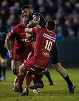 Bath Rugby's Matt Banahan is tackled by Scarlets&rsquo; Dan Jones<br /> <br /> Photographer Bob Bradford/CameraSport<br /> <br /> European Champions Cup Round 5 - Bath Rugby v Scarlets - Friday 12th January 2018 - The Recreation Ground - Bath<br /> <br /> World Copyright &copy; 2018 CameraSport. All rights reserved. 43 Linden Ave. Countesthorpe. Leicester. England. LE8 5PG - Tel: +44 (0) 116 277 4147 - admin@camerasport.com - www.camerasport.com