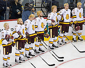 Max Tardy (Duluth - 19), Trent Palm (Duluth - 5), Joe Basaraba (Duluth - 18), Travis Oleksuk (Duluth - 11), Mike Montgomery (Duluth - 24), David Grun (Duluth - 27), Justin Fontaine (Duluth - 37) - The University of Minnesota-Duluth defeated the University of Notre Dame Fighting Irish 4-3 in their 2011 Frozen Four Semi-Final on Thursday, April 7, 2011, at the Xcel Energy Center in St. Paul, Minnesota.
