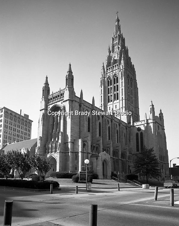 East Liberty PA:  View of the exterior of the East Liberty Presbyterian church.  Brady Stewart Jr photographed the interior and exterior of the church in 1976. The photographs were used to illustrate The Art and Architecture of the East Liberty Presbyterian Church - published in 1977. The church was completed in 1935 and was a gift from Mr and Mrs Richard Beatty Mellon, a grandson of the original donors of the property where the church had its first site.