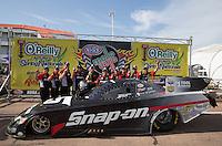 Apr. 28, 2013; Baytown, TX, USA: NHRA funny car driver Cruz Pedregon celebrates with his crew after winning the Spring Nationals at Royal Purple Raceway. Mandatory Credit: Mark J. Rebilas-
