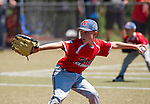 WATERBURY,  CT-071918JS02--Wolcott's Chase Gilich (7) delivers a pitch during their Roberto Clemente tournament game against Diamond Elite of Cincinnati (OH) Thursday at Municipal Stadium in Waterbury. <br /> Jim Shannon Republican American