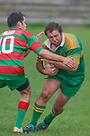 D. Watt tries to break past R. Dunning. Counties Manukau Premier Club Rugby round 5 game between Waiuku and Drury played at Waiuku on the 12th of May 2007. Waiuku led 33 - 0 at halftime and went on to win 57 - 5.