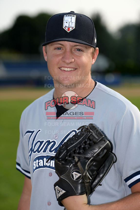 Staten Island Yankees pitcher Jordan Foley (38) poses for a photo before a game against the Batavia Muckdogs on August 8, 2014 at Dwyer Stadium in Batavia, New York.  Staten Island defeated Batavia 4-2.  (Mike Janes/Four Seam Images)