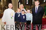 The boys from Scoil Mhuire Cahersiveen who made their 1st Holy Communion in the O'Connell Memorial Church on Saturday pictured here l-r; Canon Larry Kelly, Nedas Alimas, Nessa Cullinan(Principal), Alex Kelly, Cia O'Sullivan & Gerard Foley(Teacher).