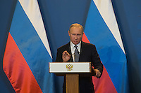 Vladimir Putin president of Russia talks during a press conference in Budapest, Hungary on February 02, 2017. ATTILA VOLGYI