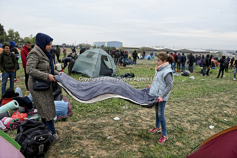 Pictured: Migrants in Diavata, Greece. Friday 05 April 2019<br /> Re: Clashes between migrants and riot police have broken out at the former Anagnostopoulos army camp, after rumours started spreading that the borders had re-opened, in Diavata near Thessaloniki, Greece