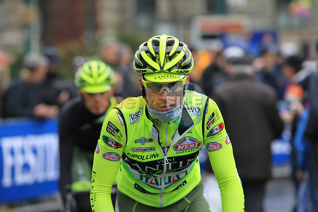 Oscar Gatto (ITA) Vini Fantini-Selle Italia at the sign on before the start of the 104th edition of the Milan-San Remo cycle race at Castello Sforzesco in Milan, 17th March 2013 (Photo by Eoin Clarke 2013)