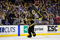 April 25, 2018:  Blades the Boston Bruins mascot celebrates after game seven of the first round of the National Hockey League's Eastern Conference Stanley Cup playoffs between the Toronto Maple Leafs and the Boston Bruins held at TD Garden, in Boston, Mass. Boston defeats Toronto 7-4 and wins the best of seven series 4 games to 3 to advance to round two.