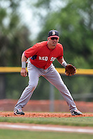 Boston Red Sox minor league third baseman Victor Acosta (13) during an extended spring training game against the Tampa Bay Rays on April 16, 2014 at Charlotte Sports Park in Port Charlotte, Florida.  (Mike Janes/Four Seam Images)