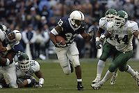 20 November 2004:  PSU RB Austin Scott (33) runs past MSU's Ronald Stanley (44)..Penn State defeated Michigan State 37-13 November 20, 2004 at Beaver Stadium in State College, PA....