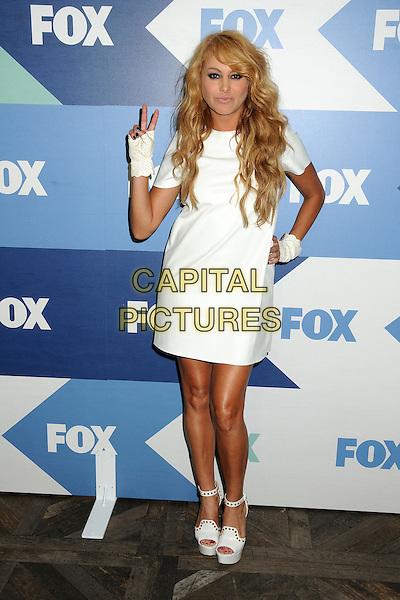 Paulina Rubio<br /> Fox All-Star Summer 2013 TCA Party held at Soho House, West Hollywood, California, USA, 1st August 2013.<br /> full length on hip dress hand fingerless gloves white ankle strap shoes platform sandals v peace sign gesture <br /> CAP/ADM/BP<br /> &copy;Byron Purvis/AdMedia/Capital Pictures