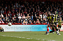 Craig Reid of Stevenage scores their first goal. - Stevenage v Brentford - npower League 1 - Lamex Stadium, Stevenage - 21st April, 2012. © Kevin Coleman 2012