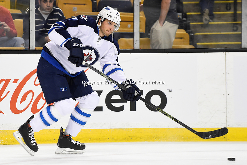 Thursday, October 8, 2015: Winnipeg Jets defenseman Ben Chiarot (7) warms up before the NHL game between the Winnipeg Jets and the Boston Bruins held at TD Garden, in Boston, Massachusetts. Winnipeg defeated Boston 6-2 in regulation time. Eric Canha/CSM