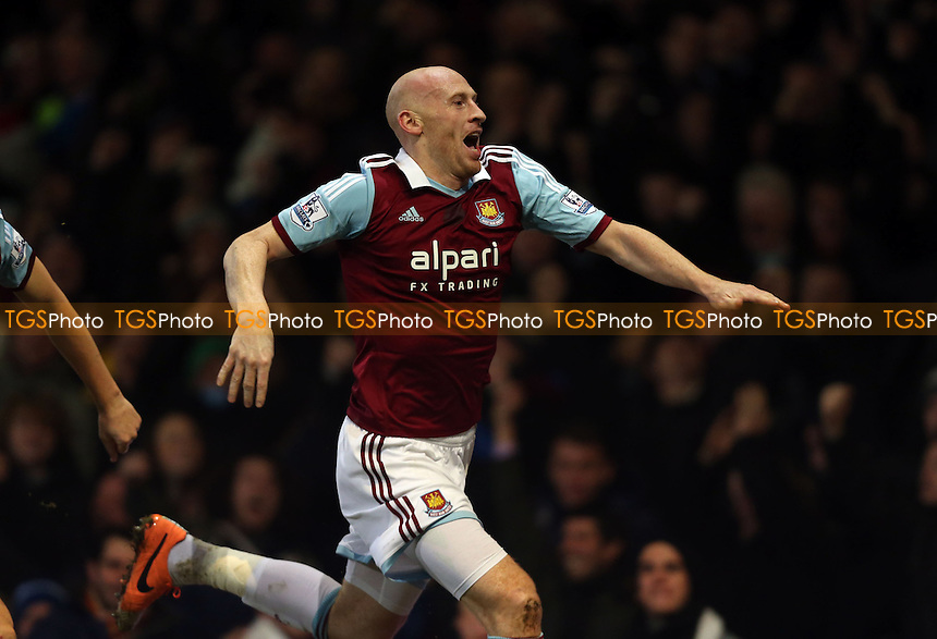 James Collins celebrates after scoring the 1st goal for West Ham - West Ham United vs Norwich City, Barclays Premier League at Upton Park, West Ham - 11/02/14 - MANDATORY CREDIT: Rob Newell/TGSPHOTO - Self billing applies where appropriate - 0845 094 6026 - contact@tgsphoto.co.uk - NO UNPAID USE