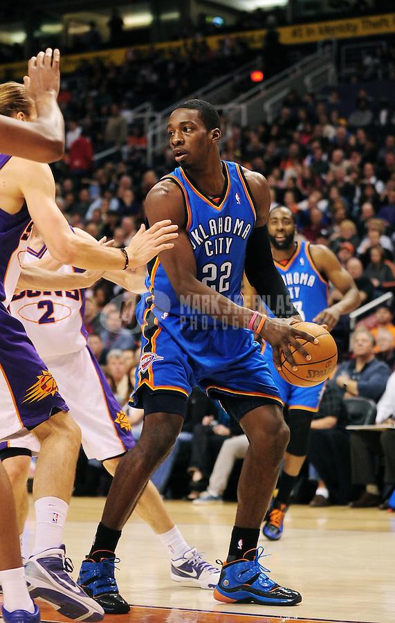 Dec. 23, 2009; Phoenix, AZ, USA; Oklahoma City Thunder forward (22) Jeff Green against the Phoenix Suns at the US Airways Center. The Thunder defeated the Suns 117-113. Mandatory Credit: Mark J. Rebilas-