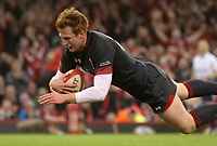 Wales' Rhys Patchell scores his side's ninth try<br /> <br /> Photographer Ian Cook/CameraSport<br /> <br /> Under Armour Series Autumn Internationals - Wales v Tonga - Saturday 17th November 2018 - Principality Stadium - Cardiff<br /> <br /> World Copyright © 2018 CameraSport. All rights reserved. 43 Linden Ave. Countesthorpe. Leicester. England. LE8 5PG - Tel: +44 (0) 116 277 4147 - admin@camerasport.com - www.camerasport.com