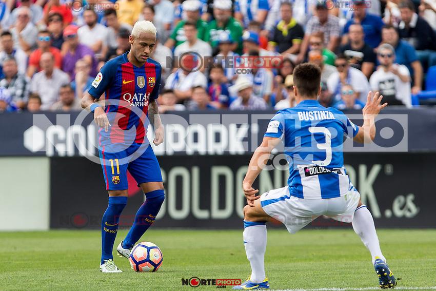 FC Barcelona's Neymar Santos Jr Club Deportivo Leganes's Unai Bustinza during the match of La Liga between Club Deportivo Leganes and Futbol Club Barcelona at Butarque Estadium in Leganes. September 17, 2016. (ALTERPHOTOS/Rodrigo Jimenez) /NORTEPHOTO