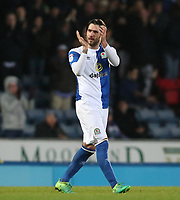 Blackburn Rovers' Danny Graham applauds the crowd as he goes off in the second half <br /> <br /> Photographer Rachel Holborn/CameraSport<br /> <br /> The EFL Sky Bet League One - Blackburn Rovers v Shrewsbury Town - Saturday 13th January 2018 - Ewood Park - Blackburn<br /> <br /> World Copyright &copy; 2018 CameraSport. All rights reserved. 43 Linden Ave. Countesthorpe. Leicester. England. LE8 5PG - Tel: +44 (0) 116 277 4147 - admin@camerasport.com - www.camerasport.com