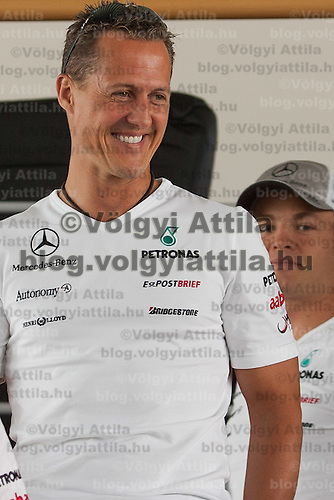 Mercedes Formula One driver Michael Schumacher of Germany participates a press conference in Budapest, Hungary on July 29, 2010. ATTILA VOLGYI