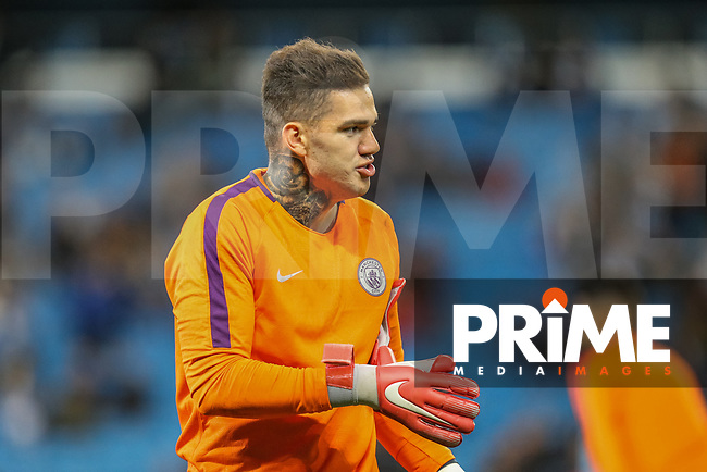 Goalkeeper Ederson Santana EDERSON of Manchester City warms up for the UEFA Champions League match between Manchester City and Olympique Lyonnais at the Etihad Stadium, Manchester, England on 19 September 2018. Photo by David Horn / PRiME Media Images.