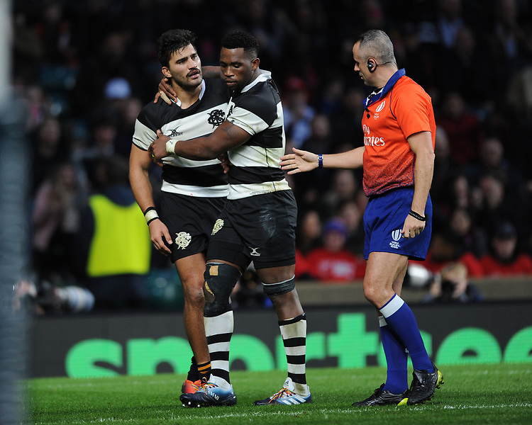 Damian de Allende of Barbarians (Stormers & South Africa) is calmed down by Siya Kolisi of Barbarians (Stormers & South Africa)  during the Killik Cup match between the Barbarians and Argentina at Twickenham Stadium on Saturday 1st December 2018 (Photo by Rob Munro/Stewart Communications)
