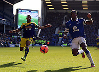 Pictured L-R: Wayne Routledge of Swansea against Sylvain Distin of Everton. Sunday 16 February 2014<br />