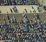 Aerial view of cars and automobiles lined up at Port of Baltimore MD