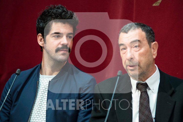"""Miguel Angel Muñoz and Jose Luis Garci during the presentation of the new production of the Spanish Theater """"Arte Nuevo""""  at spanish theater in Madrid, February 16, 2016<br /> (ALTERPHOTOS/BorjaB.Hojas)"""