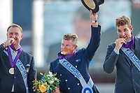GOLD MEDAL: AUS-Boyd Exell. SILVER: USA-Chester Weber. BRONZE: BEL-Edouard Simonet. The FEI World Individual Driving Championship - Medal Ceremony. 2018 FEI World Equestrian Games Tryon. Sunday 23 September. Copyright Photo: Libby Law Photography