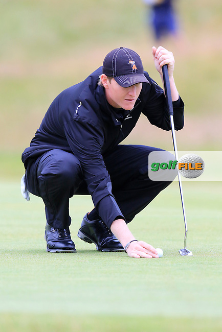 Jordan Niebrugge (AM)(USA) lines up his putt on the 17th green during Monday's Final Round of the 144th Open Championship, St Andrews Old Course, St Andrews, Fife, Scotland. 20/07/2015.<br /> Picture Eoin Clarke, www.golffile.ie