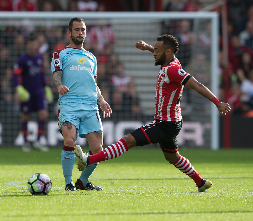 Burnley's Steven Defour under pressure from Southampton's Nathan Redmond<br /> <br /> Photographer James Williamson/CameraSport<br /> <br /> The Premier League - Southampton v Burnley - Sunday 16th October 2016 - St Mary's Stadium - Southampton<br /> <br /> World Copyright &copy; 2016 CameraSport. All rights reserved. 43 Linden Ave. Countesthorpe. Leicester. England. LE8 5PG - Tel: +44 (0) 116 277 4147 - admin@camerasport.com - www.camerasport.com