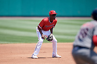 Rochester Red Wings shortstop Nick Gordon (1) during a game against the Lehigh Valley IronPigs on July 1, 2018 at Frontier Field in Rochester, New York.  Rochester defeated Lehigh Valley 7-6.  (Mike Janes/Four Seam Images)