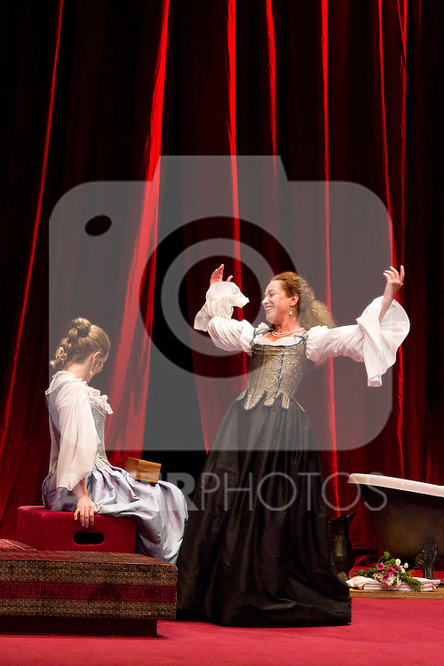 12.06.2012. Press pass of 'The School of Disobedience' at the Teatro Bellas Artes in Madrid. Directed by Luis Luque and starring by Maria Adánez and Cristina Marcos. In the image Maria Adánez and Cristina Marcos (Alterphotos/Marta Gonzalez)