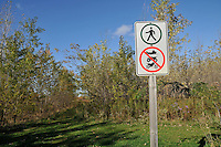Signs are posted at Perch Creek Habitat Management Area. The area is owned by the County of Lambton and managed by the Conservation Authority. This 200 acre property includes floodplain and upland forest, hedgerows, open meadow and wetlands. Over 5 km of trails takes the hiker through a variety of habitats. The Management Area is located on Churchill Line just east of Blackwell Rd. Facilities: parking lot....