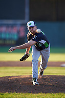 Vermont Lake Monsters pitcher Andrew Tomasovich (44) delivers a pitch during a game against the Batavia Muckdogs August 9, 2015 at Dwyer Stadium in Batavia, New York.  Vermont defeated Batavia 11-5.  (Mike Janes/Four Seam Images)