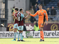 Burnley's Nick Pope and Ashley Westwood congratulate each other at the final whistle<br /> <br /> Photographer Rich Linley/CameraSport<br /> <br /> The Premier League - Burnley v Leicester City - Saturday 14th April 2018 - Turf Moor - Burnley<br /> <br /> World Copyright &copy; 2018 CameraSport. All rights reserved. 43 Linden Ave. Countesthorpe. Leicester. England. LE8 5PG - Tel: +44 (0) 116 277 4147 - admin@camerasport.com - www.camerasport.com