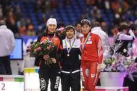 SCHAATSEN: HEERENVEEN: IJsstadion Thialf, 17-11-2012, Essent ISU World Cup, Season 2012-2013, Ladies 1500 meter Division B, podium, Hong Zhang (CHN), Bo-Reum Kim (KOR), Katarzyna Bachleda-Curus (POL), ©foto Martin de Jong