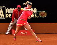 BOGOTA - COLOMBIA – 11 – 04 - 2017: Kiki Bertens de Holanda, devuelve la bola a Nina Stojanovic de Serbia, durante partido por el Claro Colsanitas WTA, que se realiza en el Club Los Lagartos de la ciudad de Bogota. / Kiki Bertens from Nederland returns the ball to Nina Stojanovic from Serbia, during a match for the WTA Claro Colsanitas, which takes place at Los Lagartos Club in Bogota city. Photo: VizzorImage / Luis Ramirez / Staff.